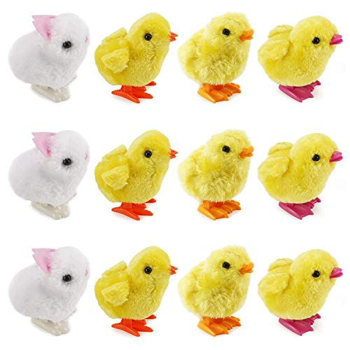 Liberty Imports 1 Dozen Wind-Up Kids Toys | Jumping Chicken Ducklings Bulk Wind Up Novelty Party Favors - Pack of 12 (Chicks & Bunnies) ()