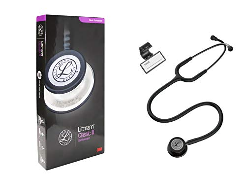Classic III Monitoring Stethoscope, for Children and Adult, Lightweight Dual Head, Smoke-Finish, Black Tube, 27 Inch, 5811 + Plastic Name ID