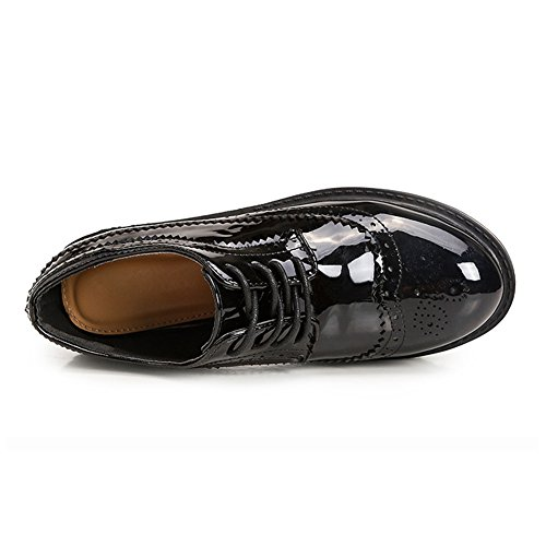 Sole T Oxfords up Brogue Shoes Glossy Thick Comfy Perforated Shoes Classic JULY Women's Lace FvnFq4R