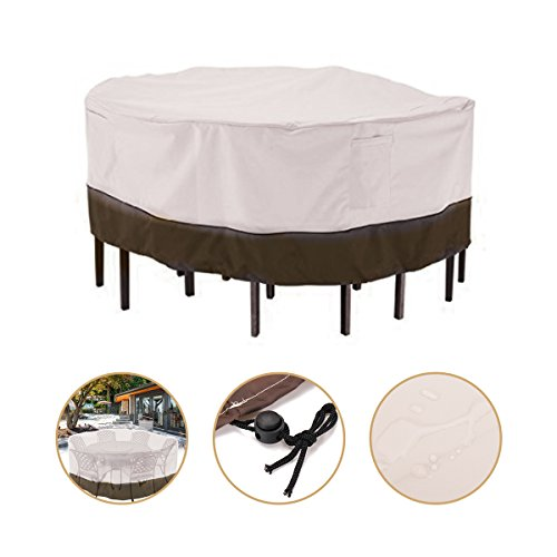 Essort Garden Table Cover, Waterproof Circular Beige Dust Chairs Cover, 94'× 23.6' Inches, Outdoor Round Furniture Protection For Sun And Shield, Beige Contrast Brown by Essort