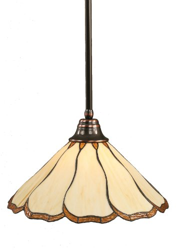 C-914 Stem Pendant Light Black Copper Finish with Honey and Brown Flair Tiffany Glass, 16-Inch (Tiffany Style Honey)