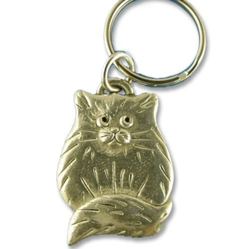 Pewter Fat Cat Keychain by The Magic Zoo