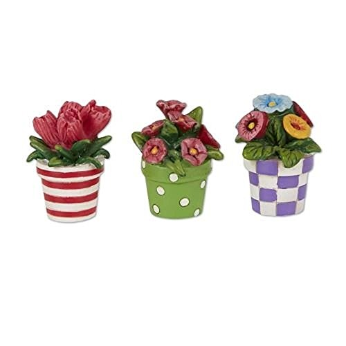 Studio M Merriment Fairy Garden Mini Patterned Potted Flowers Set of 3 Review