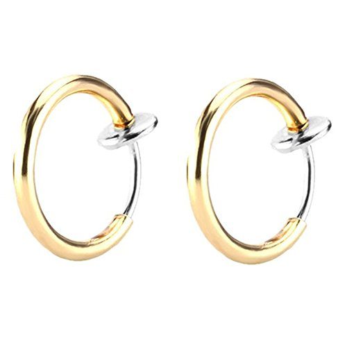 Price comparison product image Great my shop 16G Stainless Steel Fake Earrings Hoop Non-pierced Nose Ring Lip Ear Clip Body Jewelry