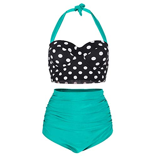 (KCatsy Dotted Ruched Halter Bikini Set Green)