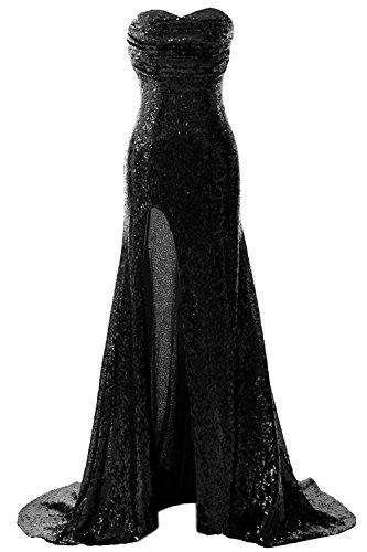 Gown Evening Schwarz Prom Slit Formal Mermaid Sequin Dress with Long Gorgeous MACloth 1O08Aqgx