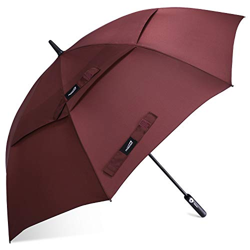 Promover 62 Inch Golf Umbrella Automatic Open Extra Large Oversize Double Canopy Vented Windproof Waterproof Stick Umbrellas(Wine Red)