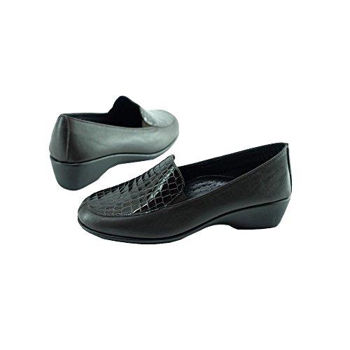 Confortable Marron Mocassin Souple Aerobics Narita Cuir Croco Chaussures Marque Compensé Sensibles Ultra Flexible Pieds Femme 1WgSqw