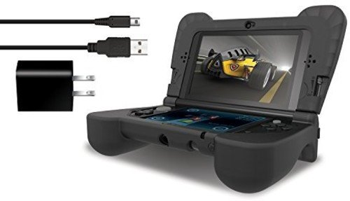dreamGEAR – Power Play Kit – Ergonomic/Protective Silicon Cover + AC Adapter + Charge Cable for 3DS XL – Black