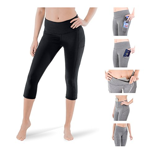 Sparkle 3-Pocket Capri Leggings Yoga Active Workout Pants Hight Waist Tummy Control Unique Design (S2) (Large, Black) Design Cotton Short
