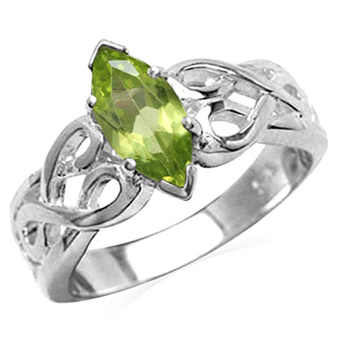 (1.08ct. Natural Peridot White Gold Plated 925 Sterling Silver Filigree Celtic Knot Solitaire Ring Size 9)
