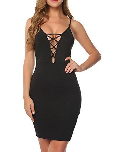 ACEVOG Women Deep V Neck Spaghetti Strap Bandage Lace Up Dress For Party (Black, - Spaghetti Cross
