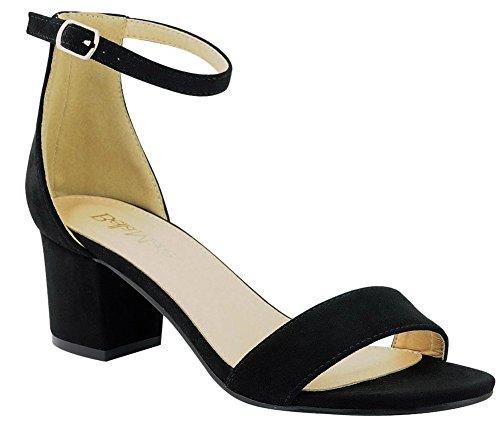 Bella Marie Womens Strappy Open Toe Block Heel Sandal Black Imsu GzL6A