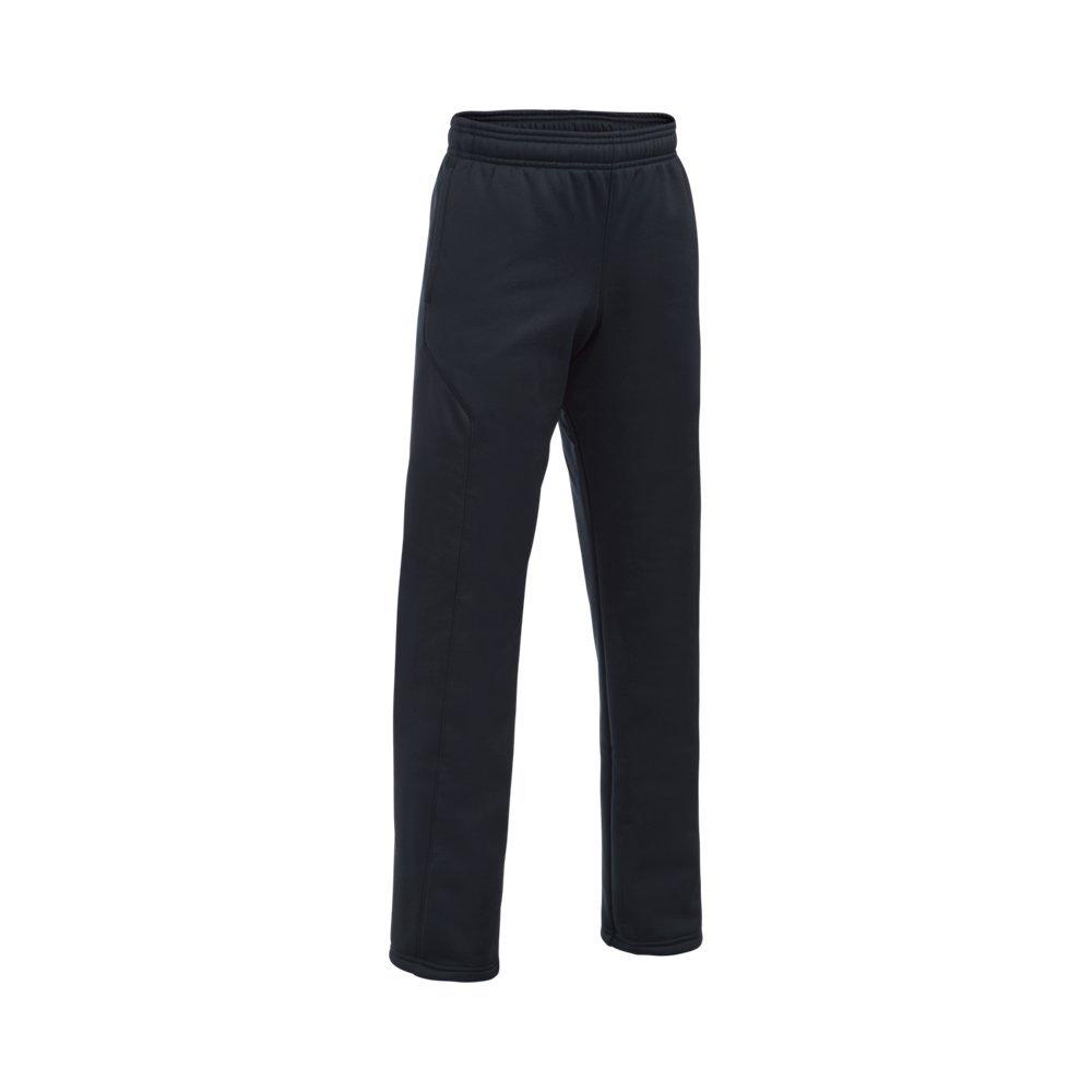 Under Armour Boys' Storm Armour Fleece Big Logo Pants, Black (006)/Steel, Youth X-Small