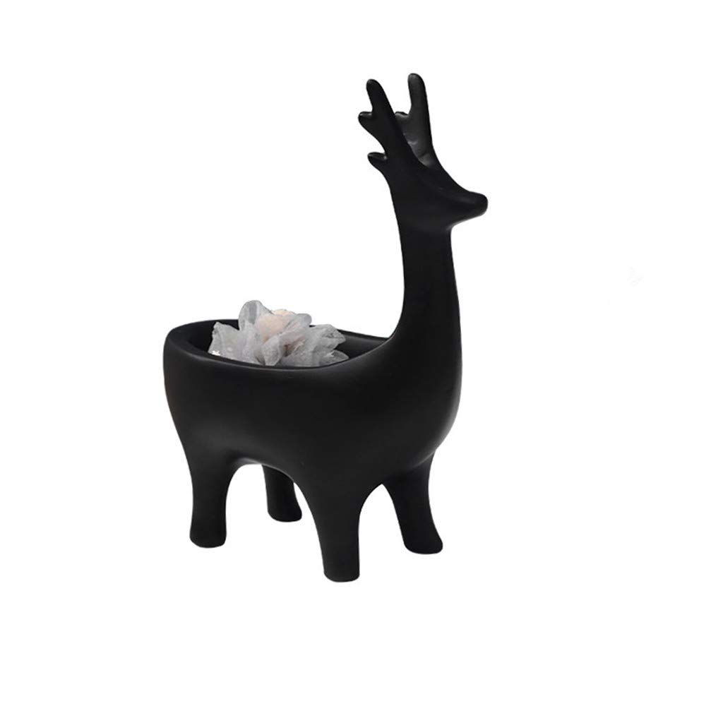 Resin Storage Crafts Ornaments Creative Deer Desktop Home Storage Key Holder Home Decoration Gift for Home Office Hotel (Black)