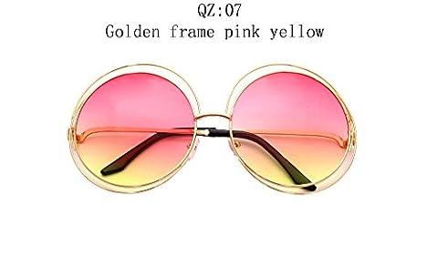 2017 Vintage Round Big Size Oversized lens Mirror Brand Designer Sunglasses,Golden frame pink yellow, Lady Cool Retro UV400 Women SunGlasses - Records Vintage T-shirt
