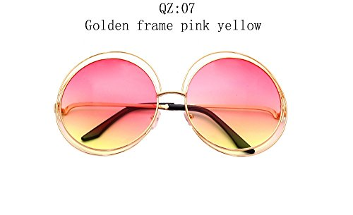 2017 Vintage Round Big Size Oversized lens Mirror Brand Designer Sunglasses,Golden frame pink yellow, Lady Cool Retro UV400 Women SunGlasses - Invicta Sunglasses
