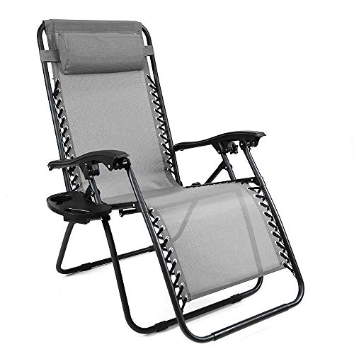 (Niceway Oversized Zero Gravity Chairs Lounge Patio Chairs Recliner with Headrest Outdoor Grey)