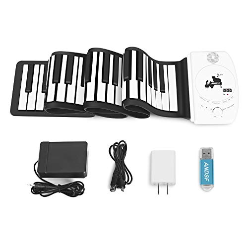 Portable 88 Keys Roll Up Piano – ANDSF Upgrade Version Flexible Eelectronic Piano with intelligent processing chips MP3 Stereo Speaker Built in Rechargeable Battery Suitable For Begainners and Kids
