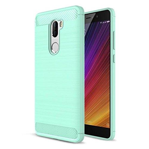 La fibra de carbono TPU cepillado caja del teléfono del teléfono de Xiaomi Mi 5s Plus cyan
