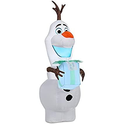 gemmy airblown inflatable olaf with present indoor outdoor holiday decoration - Olaf Outdoor Christmas Decoration