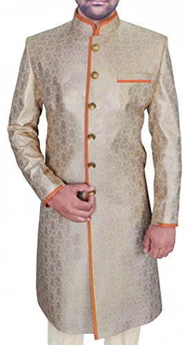 INMONARCH Mens Ivory 2 Pc Wedding Sherwani Trimming SH494S52 52 Short Ivory by INMONARCH
