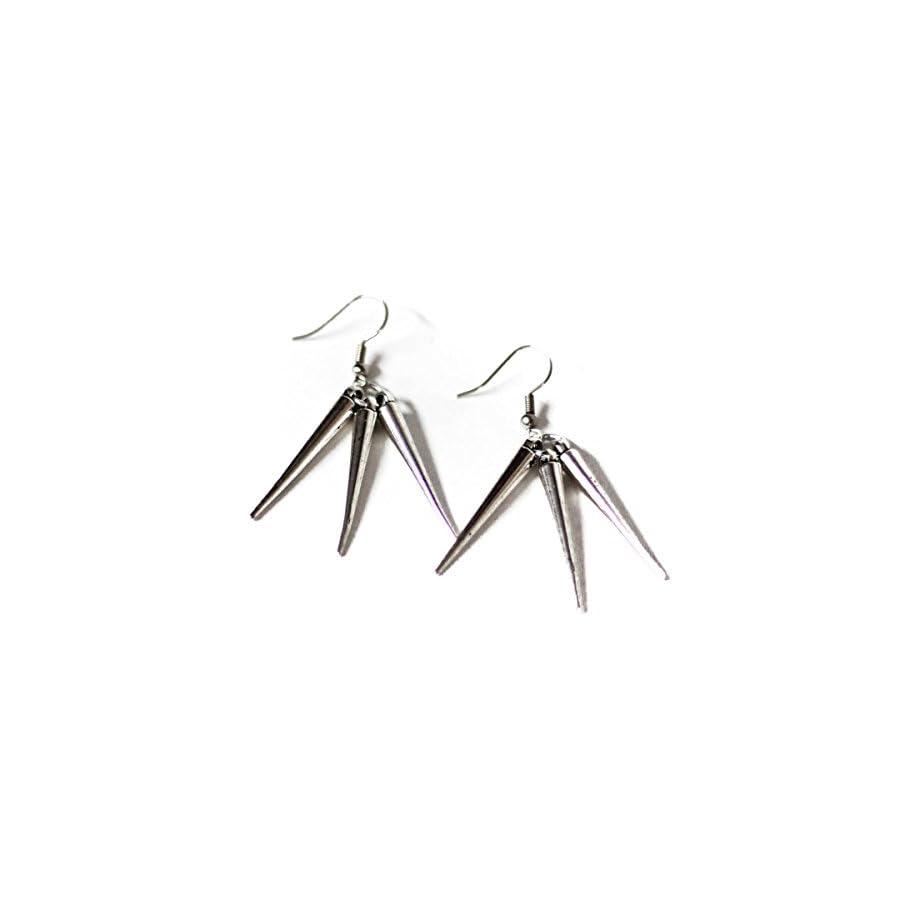 Triple Spike Silver Toned Dangle Earrings