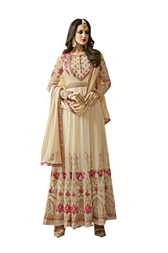 Da Facioun Indian Women Designer Partywear Ethnic Traditonal Off White Anarkali Salwar Kameez. by Da Facioun