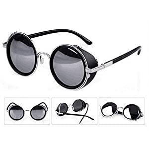Mirror lens Round Glasses Cyber Goggles Steampunk Sunglasses(light silver mirror)