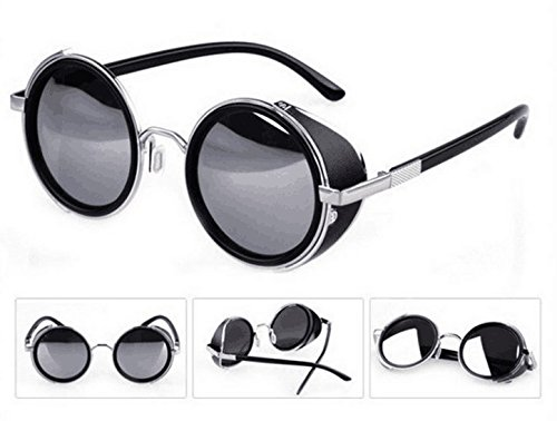 Mirror lens Round Glasses Cyber Goggles Steampunk Sunglasses(light silver - Glasses Steampunk
