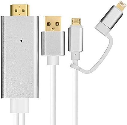 Cable HDMI 2 en 1 HDTV TV Digital AV Adaptador 1080P convertidor Cable para iPhone 6 7 8 6plus 7plus para Samsung Huawei Xiaomi Plata