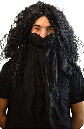 Karnival Fancy Dress-World Book Day-Halloween-Magic-Wizard School Men's Hagrid Giant Wig & Beard Fancy Dress Set - One Size (Hagrid Costume For Adults Uk)