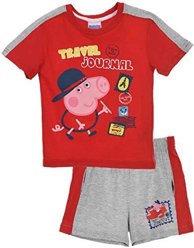 Peppa Pig Kids Tshirt and Short Pyjama Set (Red, 4 Years) -