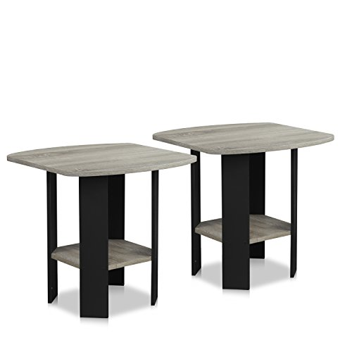 - Furinno 2-11180GYW End Table, 2-Pack, French Oak Grey/Black