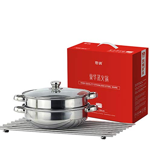 - 28 CM Stainless Steel 2 Tier Steamer Pot Steaming Cookware, Stainless Steel Stockpot with Lid