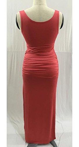 Sleeveless 3 Stylish Womens Slim Scoop Dresses Ruch Pure Neck Jaycargogo Long Split Color xROqfICfw