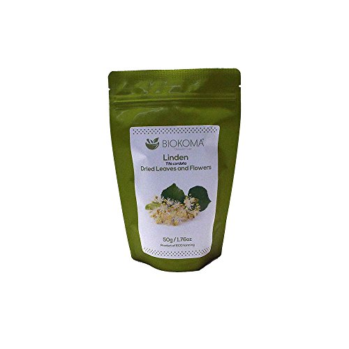 - 100% Pure and Natural Biokoma Linden Dried Leaves and Flowers 50g (1.76oz) in Resealable Moisture Proof Pouch
