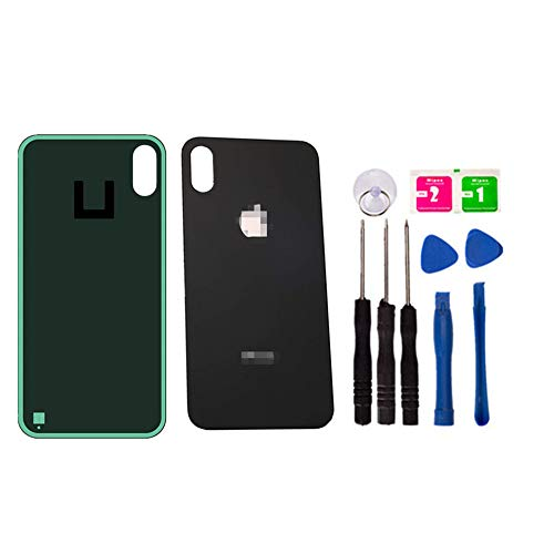 Original - Replacement Rear Housing Battery Back Door Glass Cover for iPhone X 5.8 inch, Panel Case with Adhesive Preinstalled Repair Part Casing (Black)