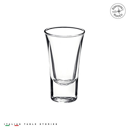 Bormioli Rocco Dublino Collection Shot Glasses - Set of 6 Clear Shot Tumblers With Heavy Base – 2-Ounce Shooter Glass For Spirits & Liquors – Classic European Design Drinkware For Bar, (Plain Shot Glasses)