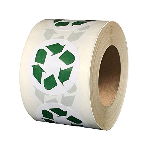 "Smart Sticker Recycle Logo Stickers Round 1.5"" Inch Labels with Adhesive 500 Per Roll 