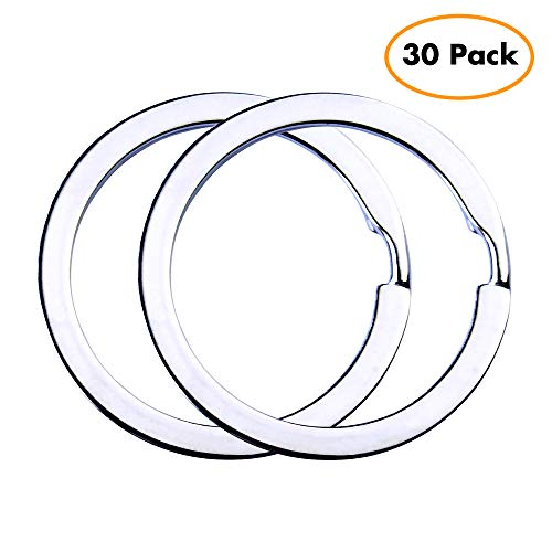 Flat Key Rings Key Chain Metal Split Ring 30pcs (Round 1.25 Inch Diameter), for Home Car Keys Organization, Lead Free Nickel Plated Silver (Flat Chain Ring)