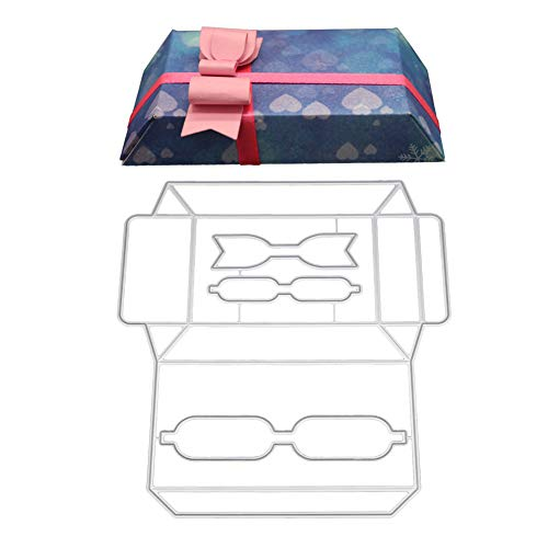 Craft Templates Card (AkoMatial Cutting Dies,Bowknot Gift Box Pattern Embossing Cutting Dies Tool Stencil Template Mold Card Making Scrapbook Album Paper Card Craft,Metal)