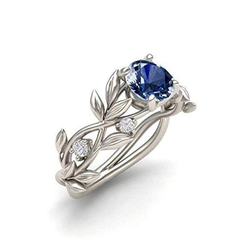 WYTong Women's Ring, Elegant Band Silver Transparent Diamond Flower Vine Leaf Rings Engagement Wedding Gift for Ladies (Dark Blue, 7)