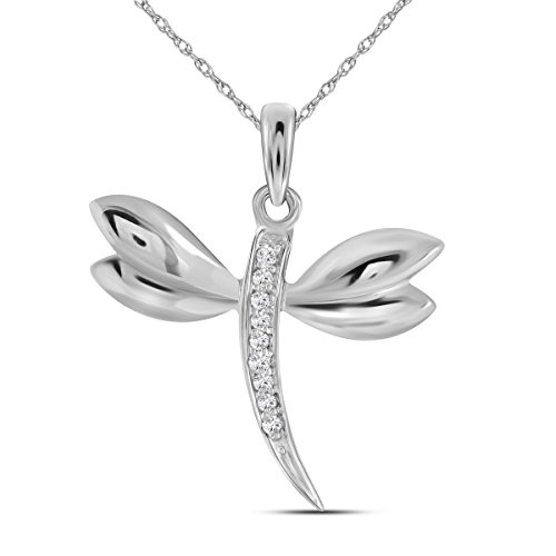Brilliant Bijou 14kt White Gold Womens Round Diamond Butterfly Bug Winged Pendant .03 Cttw - Brilliant Diamond Necklace Pendant