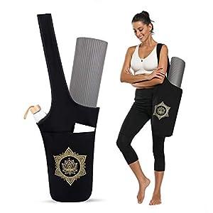 Moksha Studio Yoga Mat Bag, Mat Carrier with Large Zipper Side Pocket, One-Shoulder Sling Gym Tote Bag for Sport and…