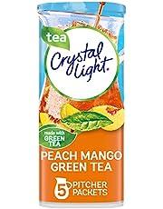 Crystal Light Peach Mango Green Tea Powdered Drink Mix, Low Caffeine, 1.56 oz Can