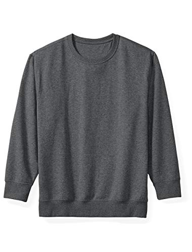 Amazon Essentials Men's Big and Tall Crewneck Fleece Sweatshirt fit by DXL, Charcoal Heather, ()