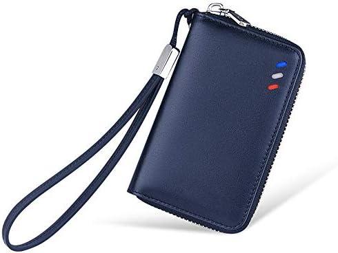 Estuche para llaves de coches, primera capa de cuero unisex llavero multifunción bolsa de llaves bolsa de llaves bolsa de cuero con cremallera cartera hombres gancho negro banda,Blue: Amazon.es: Coche y moto