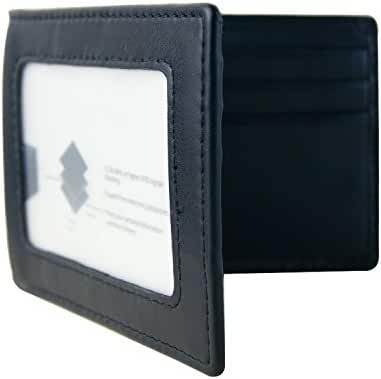Mens RFID Blocking Slim Bifold Leather Front Pocket Wallet Money Clip USD Version
