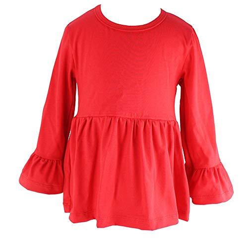 Wennikids Little Girls' Long-Sleeve Ruffle T-Shirt XX-Large Red -